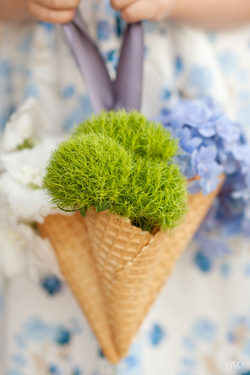flower girl ideas ice cream cone bouquets captured by Tara Whittaker Photography