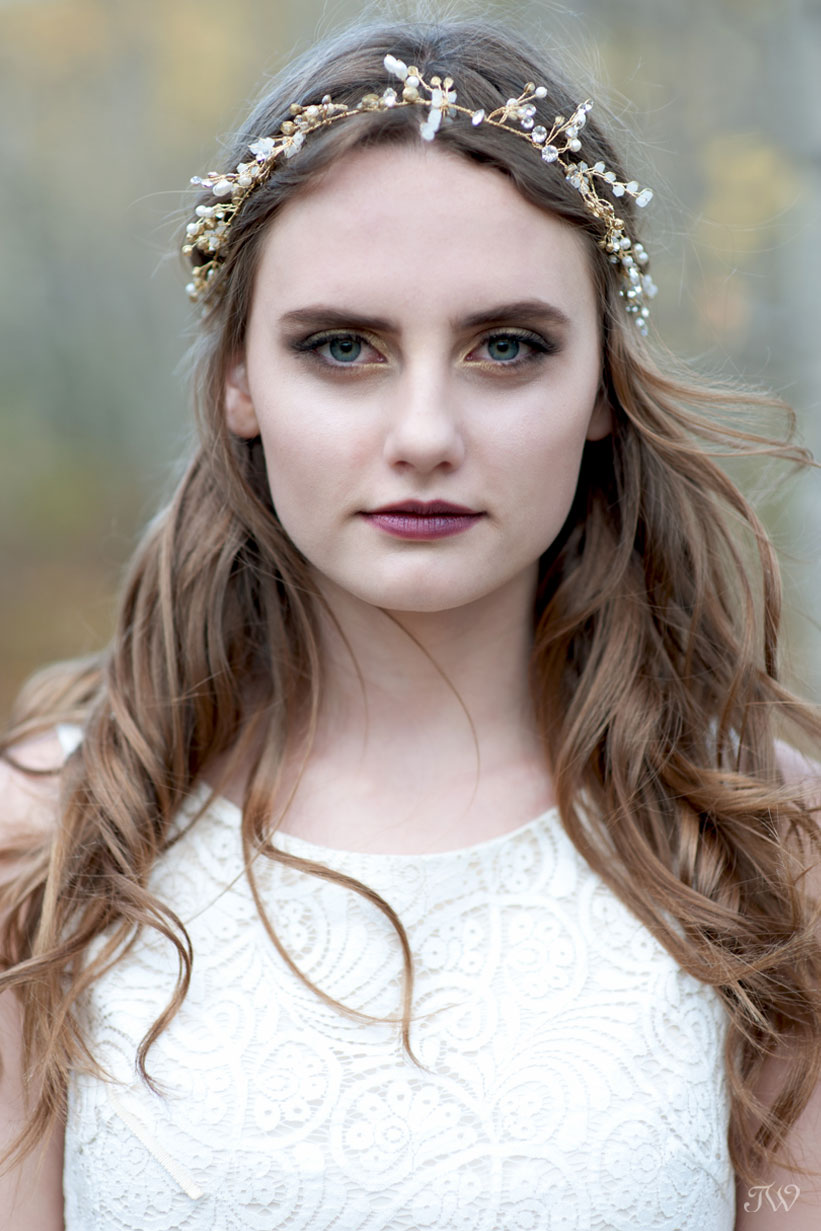 bohemian bride wears a headpiece by Olivia the Wolf captured by Tara Whittaker Photography