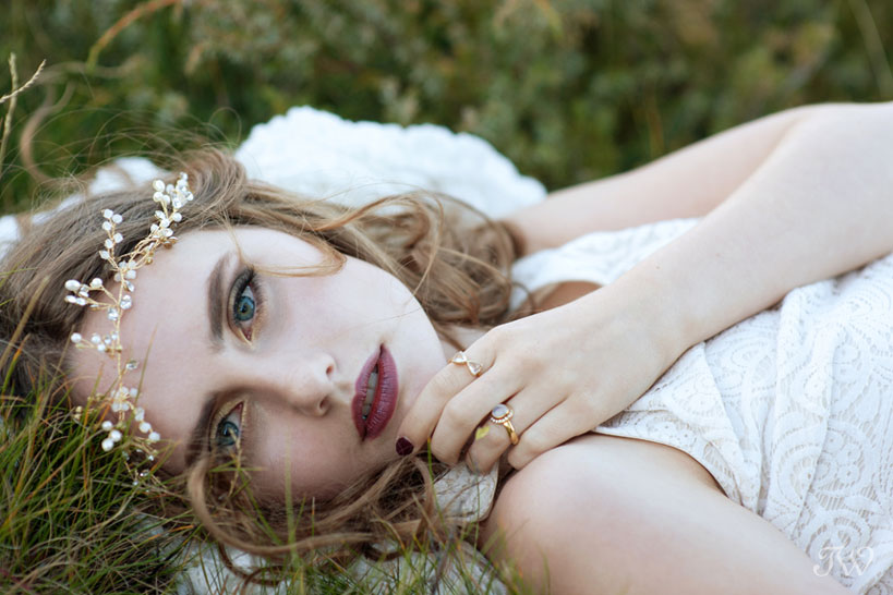 bohemian bride wearing a headpiece by Olivia the Wolf captured by Tara Whittaker Photography