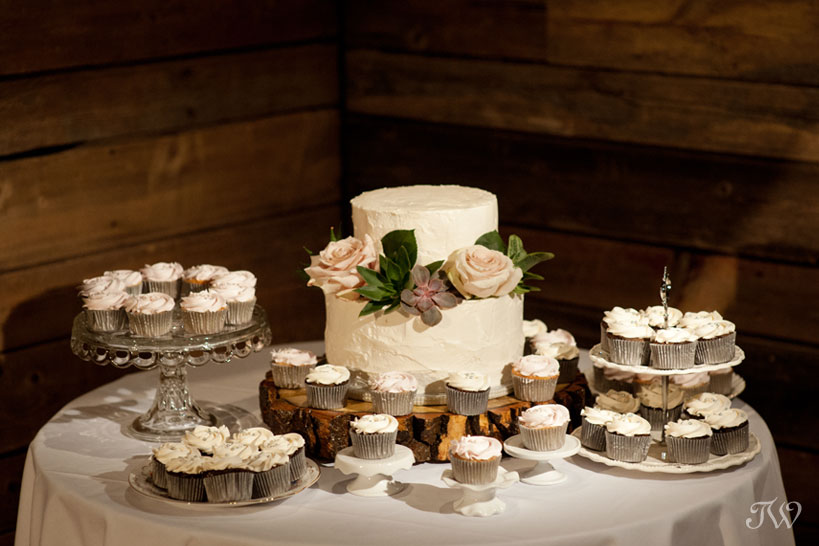 wedding cake and cupcakes at Cornerstone Theatre wedding captured by Tara Whittaker Photography