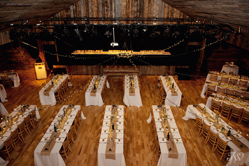 reception set-up at Cornerstone Theatre wedding captured by Tara Whittaker Photography
