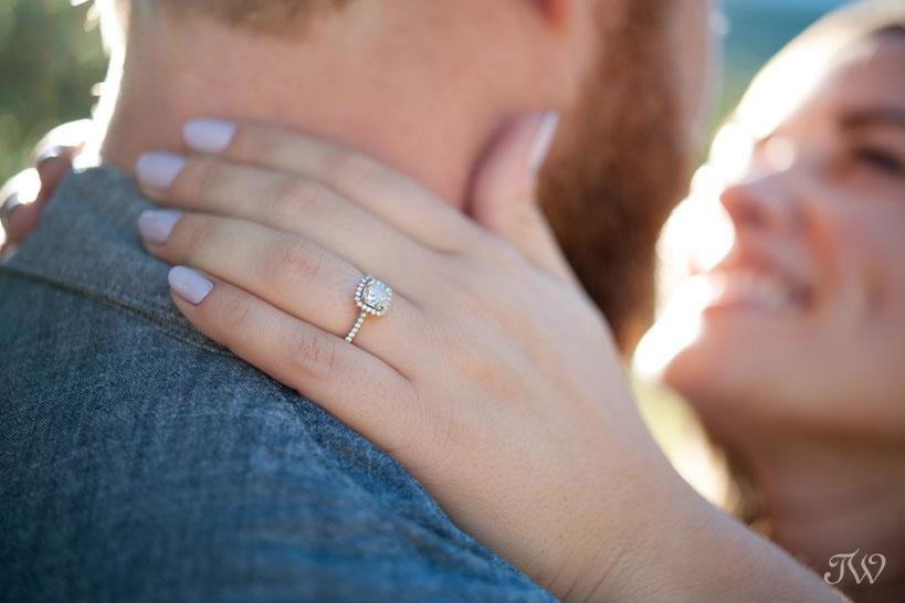 bride wearing her diamond engagement ring captured by Calgary wedding photographer Tara Whittaker