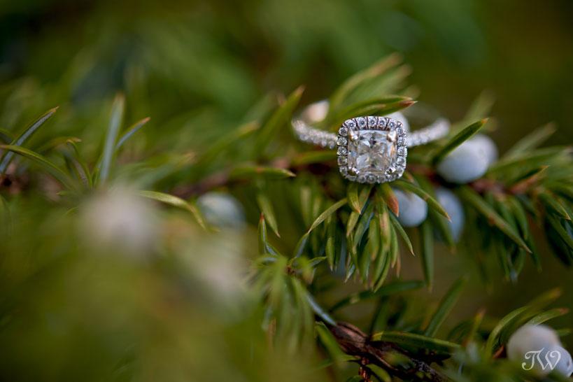 diamond engagement ring captured by Calgary wedding photographer Tara Whittaker