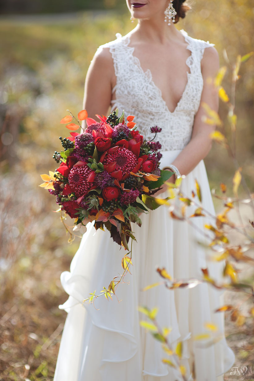 autumn bride wearing Hayley Paige bridal captured by Calgary wedding photographer Tara Whittaker