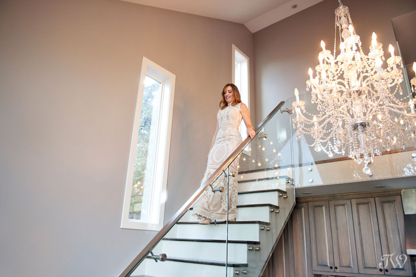The bride wearing a lace gown from BHLDN captured by Tara Whittaker Photography