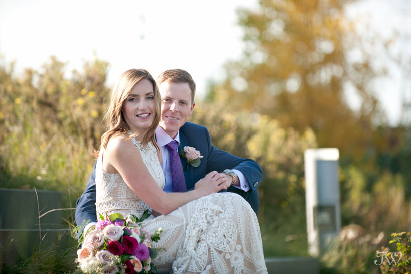 Bride and groom in the East Village before their Charbar Calgary wedding