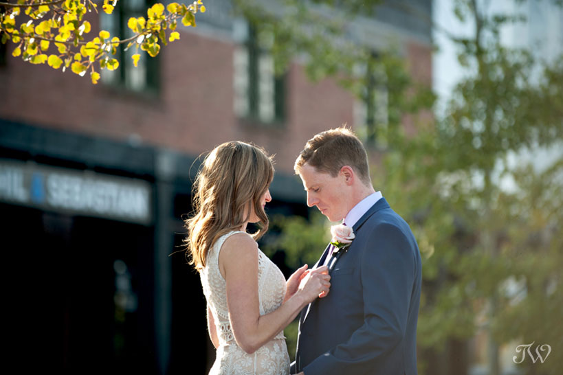 Bride and groom before their Charbar Calgary wedding captured by Tara Whittaker Photography