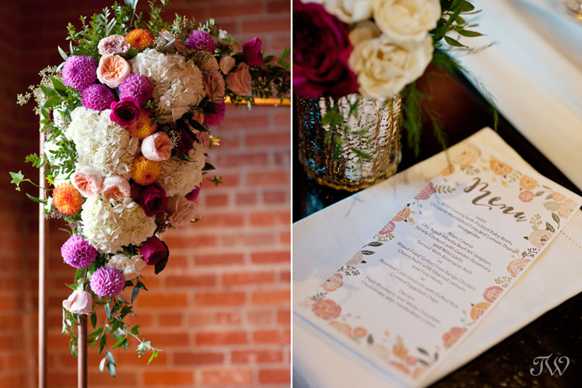 Floral arch from Flowers by Janie captured by Calgary wedding photographer Tara Whittaker