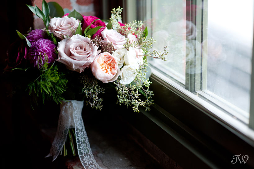 Bridal bouquet from Flowers by Janie captured by Calgary wedding photographer Tara Whittaker