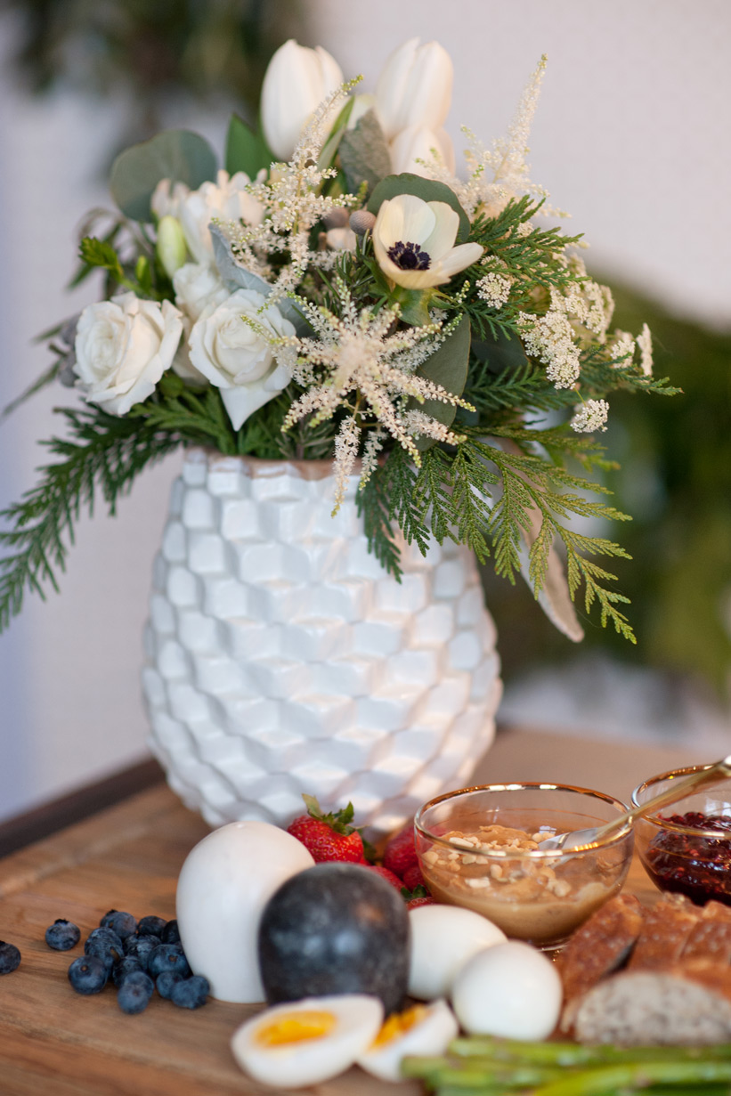 All white blooms from Flowers by Janie for Christmas brunch captured by Tara Whittaker Photography