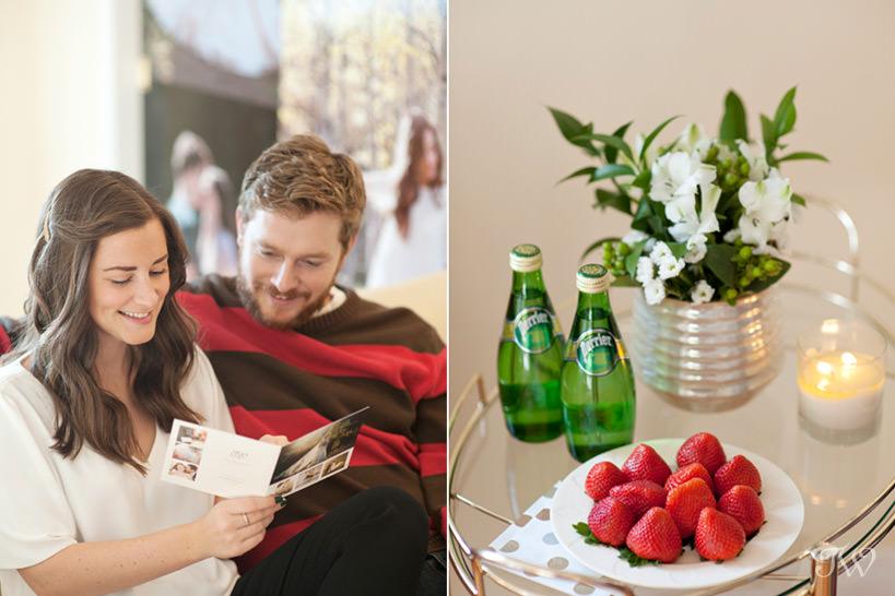 couple at a wedding consultation for Calgary wedding photographer Tara Whittaker