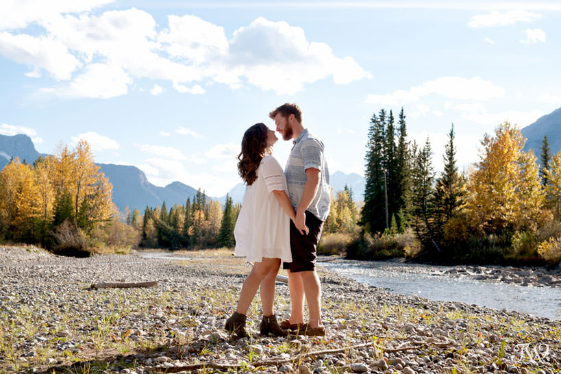 couple at their Kananaskis engagement session with Tara Whittaker Photography