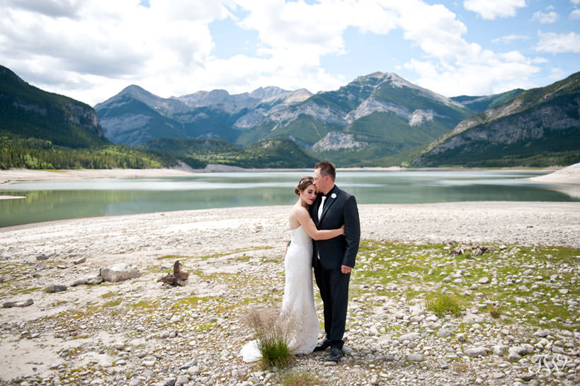 bride and groom at their Rocky Mountain elopement at Barrier Lake captured by Tara Whittaker Photography