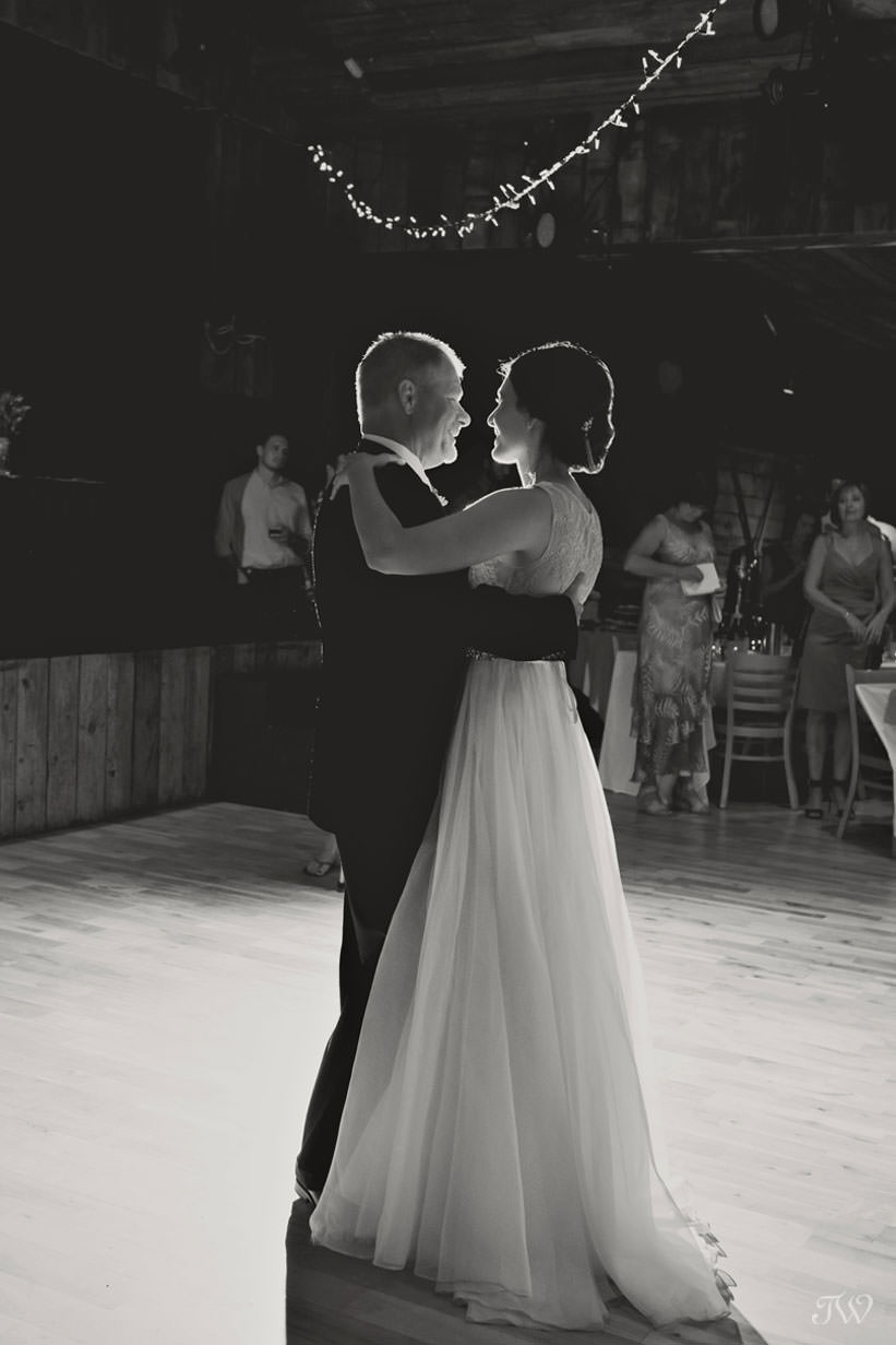 Bride and her father dance at Cornerstone Theatre in Canmore captured by Tara Whittaker Photography