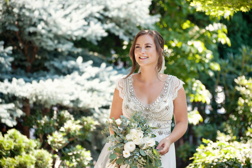 brides wears Anna Campbell in Kasugai Gardens captured by Tara Whittaker Photography