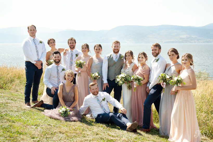 Bridal party overlooking Okanagan Lake captured by Tara Whittaker Photography