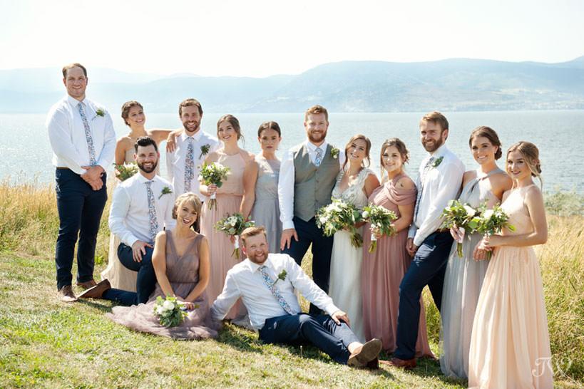bridal party during Kelowna wedding photos overlooking Okanagan Lake captured by Tara Whittaker Photography