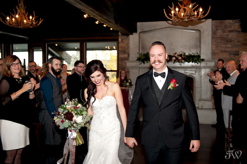 newly married couple after their Lake House wedding captured by Calgary wedding photographer Tara Whittaker