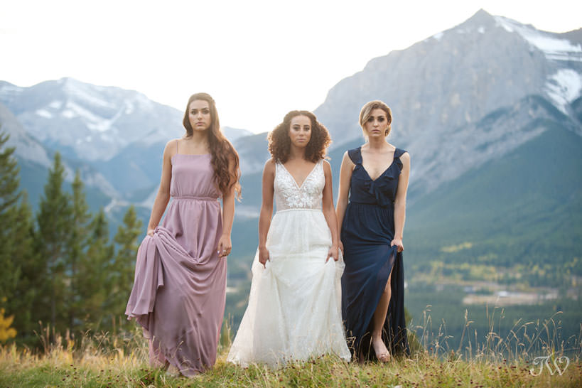 bridal party in Canmore at a Silvertip wedding captured by Calgary wedding photographer Tara Whittaker