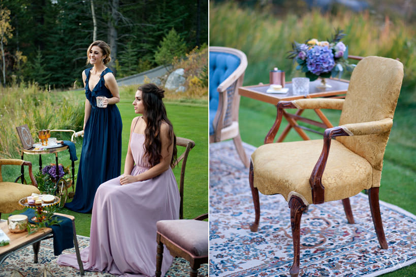 outdoor cocktail lounge at a Silvertip wedding captured by Calgary wedding photographer Tara Whittaker