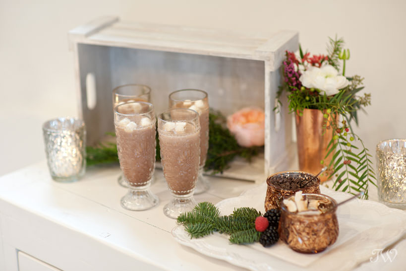 Hot chocolate bar winter wedding inspiration captured by Calgary wedding photographer Tara Whittaker