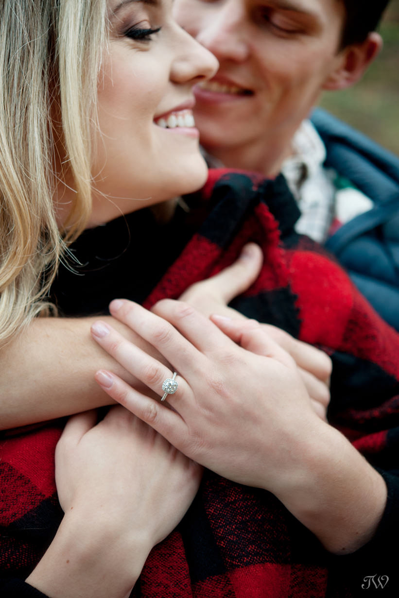 Ring shot during a Big Hill Springs engagement session captured by Tara Whittaker Photography