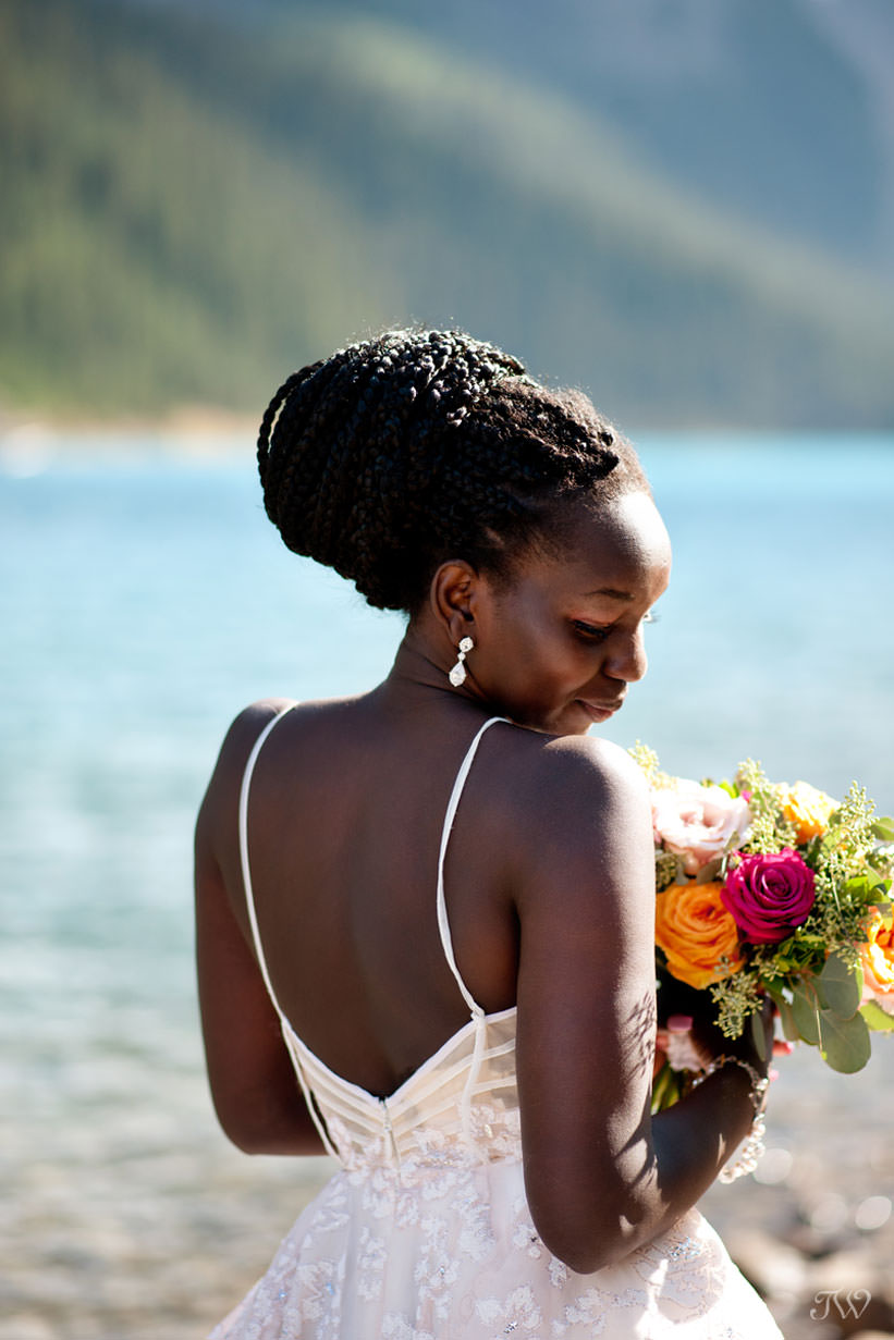 Moraine Lake bride in the Reagan gown by Hayley Paige captured by Tara Whittaker Photography