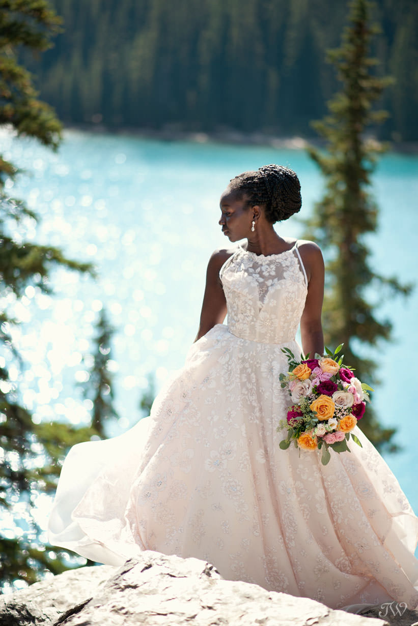 Moraine Lake bride in a blush gown from Hayley Paige captured by Tara Whittaker Photography