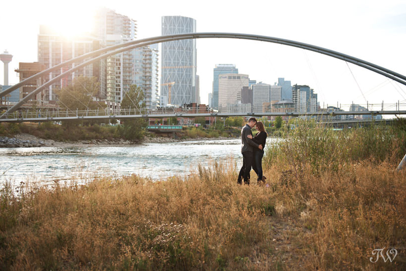 Couple by the George C King bridge during East Village engagement session captured by Tara Whittaker Photography
