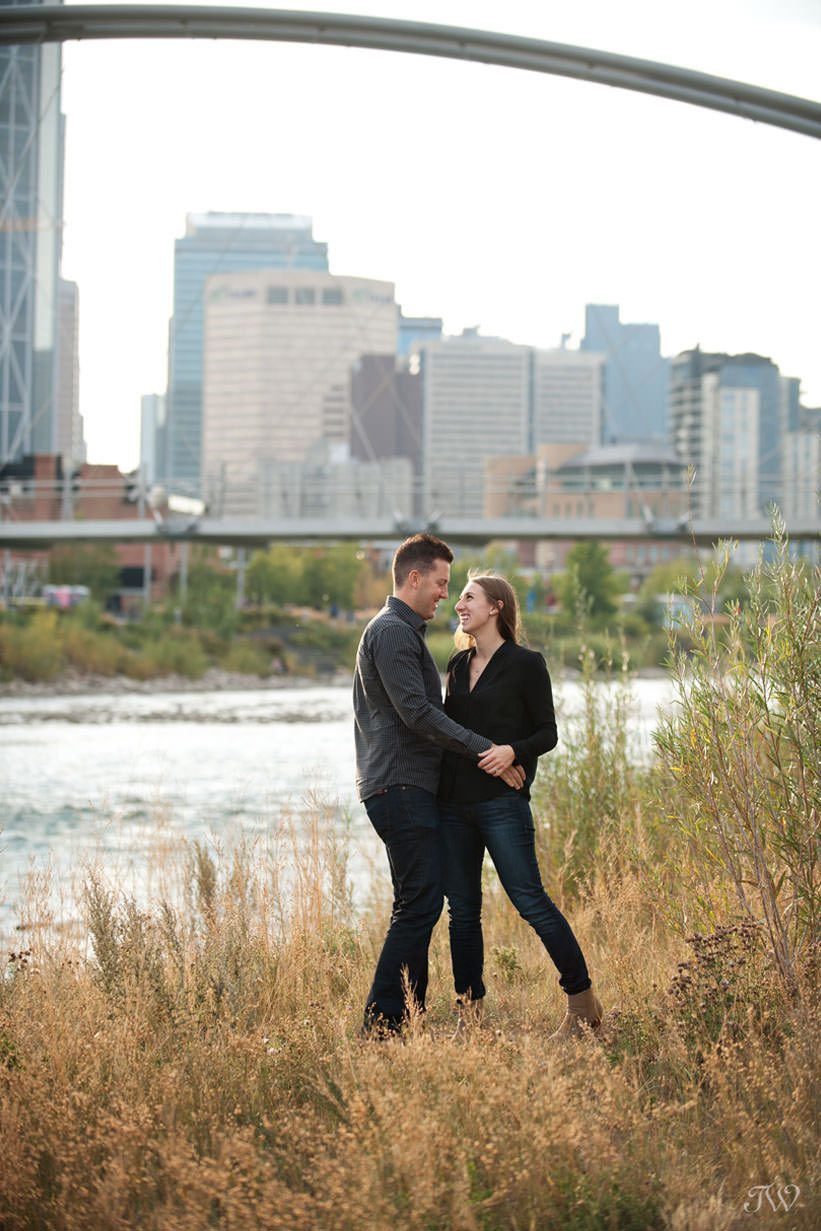 View of downtown during East Village engagement session captured by Tara Whittaker Photography