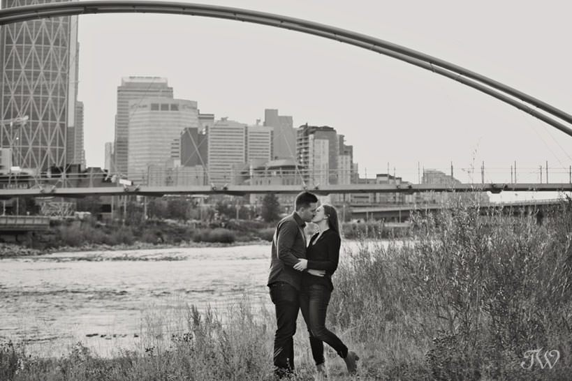 Bride and groom at George C King bridge during East Village engagement session captured by Tara Whittaker Photography