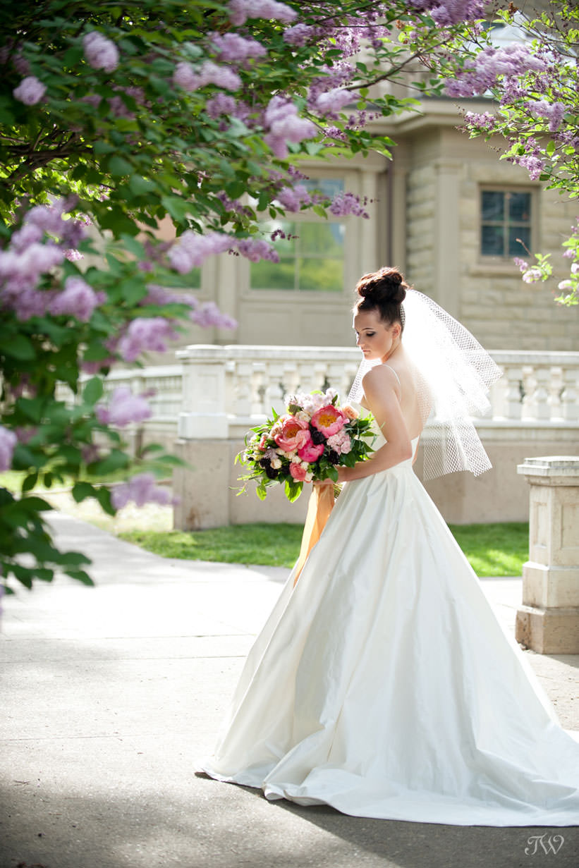Spring bride carries peonies in this feature of best bridal bouquets by Tara Whittaker Photography